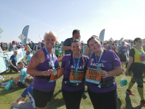 Louise, Ashley and Rachel after completing the Great North Run.
