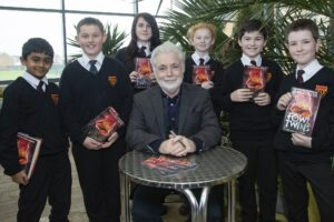 Eion Colfer with Cramlington Learning Village students