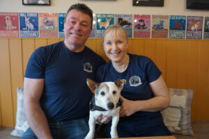 The Barking Bistro's owners Graham Siddle and Lynda Maitland with Paddy