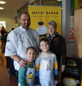 Matei Baran and Denise Wilson with mini chefs Yanis (left) and Armin