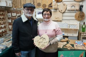 Maurice and Sue Denny who opened Ellenswood Pyrography at the Dundas Indoor Market in September
